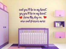 """Phil Collins """"You'll Be In My Heart"""" Wall Sticker Lyrics Decal Decor Transfer"""